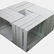 4 Stück weiß lackierte massive - gebrauchte Holzkisten - Weinkisten - für Möbelbau - Shabby in der Farbe weiß