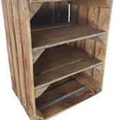 1 x alte Obstkiste - gebraucht - geflammt - mit 2 Zwischenböden - Holzkiste mit 2 Regalböden von Cronenwerth
