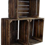 3 Set CHICCIE Vintage Holzkiste - Gebrannt - alte Obstkiste - Weinkiste - Natur Used Look (Gebrannt)
